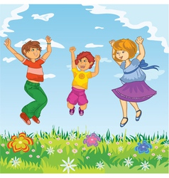 Happy kids jumping vector image