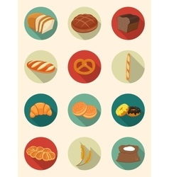 Bread icons bakery products flat design icons vector