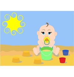 A child plays in the sand vector