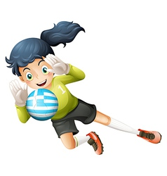 A female athlete using the ball with the flag of vector image