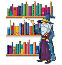 A wizard holding a wand in front of the shelves vector image vector image