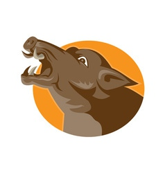 Angry wild pig head retro vector