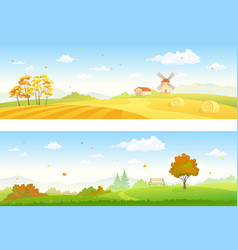 Autumn countryside banners vector