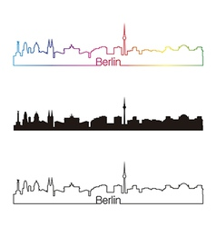 Berlin skyline linear style with rainbow vector image vector image