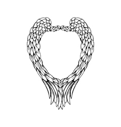Black feathers and wings frame in heart shape vector image vector image