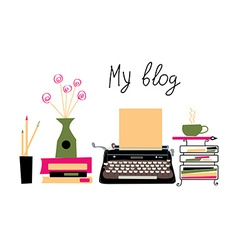 Blog banner with typing machine and books vector image vector image