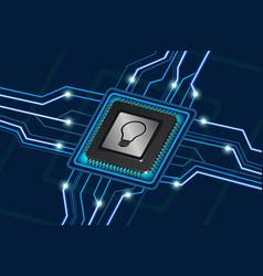 Bulb symbol on computer processor vector