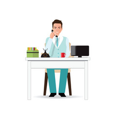 businessman talking on the phone in office vector image