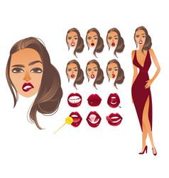 cartoon woman sexy red lips creation set vector image vector image