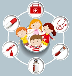 Children and medical symbols vector