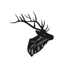 Deer silhouette with linear mountain landscape vector
