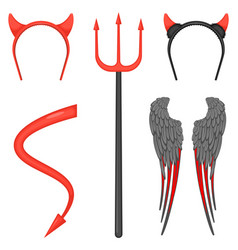 Devil costume accessories for halloween isolated vector
