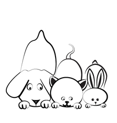Dog cat and rabbit logo vector image vector image