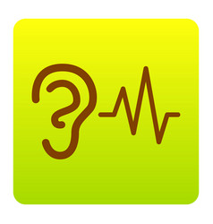 Ear hearing sound sign brown icon at vector