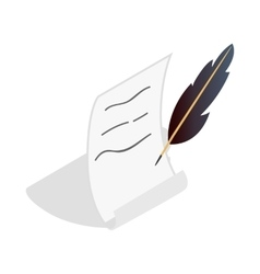 Feather and scroll icon isometric 3d style vector
