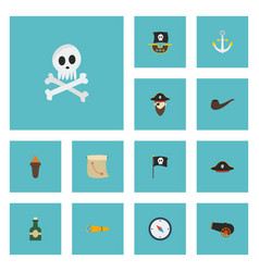 flat icons corsair banner treasure map and other vector image vector image