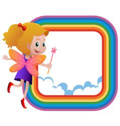 Frame template with fairy flying on the rainbow vector