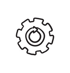 Gear wheel with arrow sketch icon vector