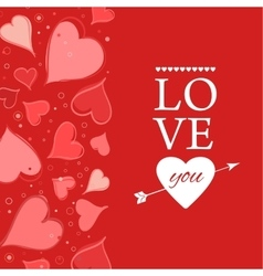 Love you lettering greeting card on red back vector