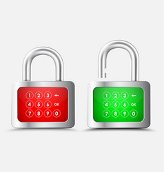 Metal rectangular padlock with a red and green vector