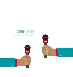 Microphone in hand journalist vector image vector image