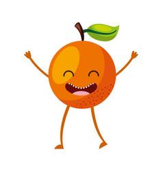 Orange fresh fruit kawaii character vector
