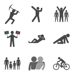 Set of people stick man icons trendy flat style vector