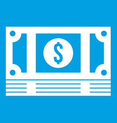 Stack of money icon white vector