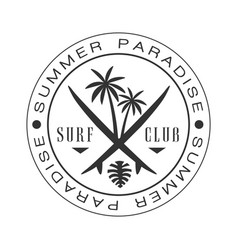 Summer paradise surf club logo template black and vector