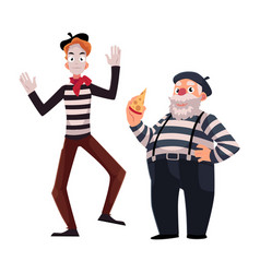 Two french mimes young and old in traditional vector