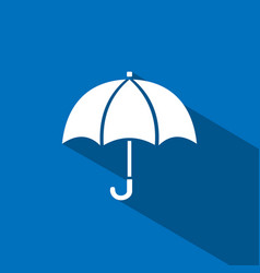 Umbrella icon with shade on blue background vector