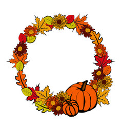 Wreath with autumn leaves vector
