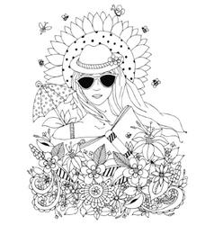Zentangl doodle portrait of vector