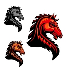 Fiery horse head icon for equestrian sport vector image