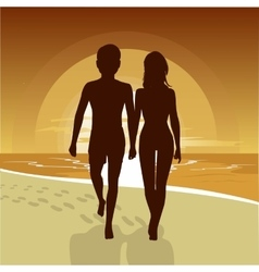 Happy couple walking along beach at sunset vector