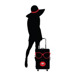 Girl sensual with travel bag woman face vector