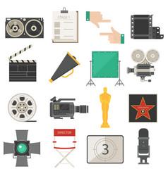 Cinema symbols icons set vector
