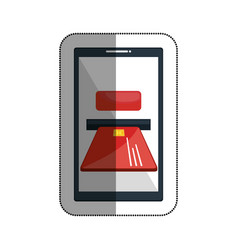 Smartphone with credit card isolated icon vector