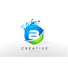 B letter logo blue green splash design vector