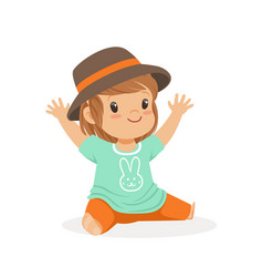 Cute little girl dressed in casual clothes and vector