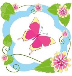 Butterfly among flowers vector