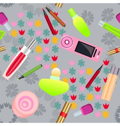 Seamless pattern with cosmetics vector image