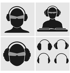 Music headphones icons vector