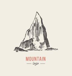 mountain logo style hand drawn vector image