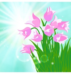 Spring card background with sun and tulips vector