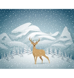 Winter holidays landscape with reindeer vector image
