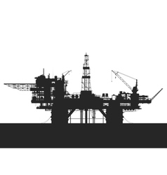 Sea oil rig oil platform in the sea detailed vector