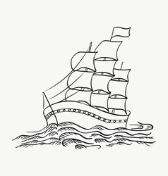 A ship sailing on the sea on a white back vector