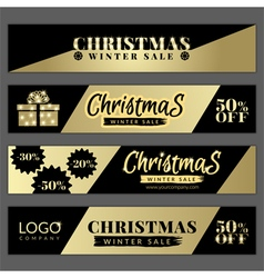 Set with golden christmas sale banners vector image