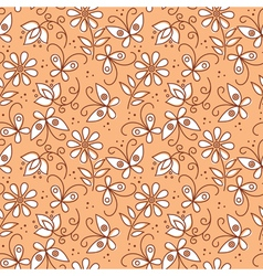 Floral seamless pattern with butterflies vector